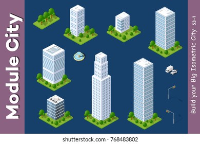 Set Urban Isometric skyscraper area of the city architecture infrastructure with building, transport, streets, houses on skyline landscape