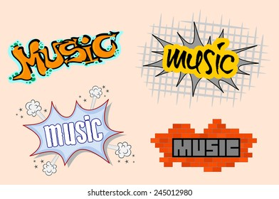 Set of urban music cool spray graffiti style illustration. Four colorful graphic design of music graffitti sketchy text on the street wall. vector art image, isolated on beige background