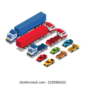 Set of urban public and freight transport cars isometric view front, back