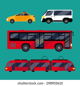 Set of urban public transport. Green background. It includes bus, minibus, taxi, tram. Performed flat.