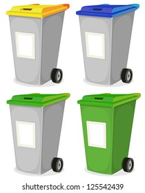 Set Of Urban Recyclable Trash Bin/ Illustration of a collection of cartoon recyclable trash bin for household waste sorting, in yellow, blue, and green top, with blank signs for message