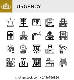 Set of urgency icons such as Alarm, Emergency, Emergency exit, Exit, Hospital, Gauze, Fire hose, Siren, Clinic, Fire extinguisher , urgency