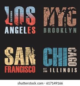 Set of us cities t-shirt designs. Tee shirt print typography label badge emblem. Vector illustration.