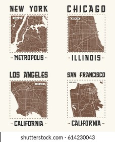 Set of US cities vintage t-shirt designs. Tee shirt print typography label badge emblem. Vector illustration