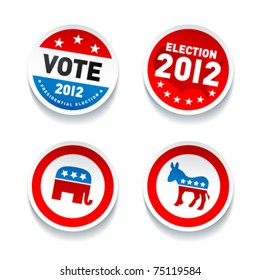 Set of US presidential election stickers in 2012