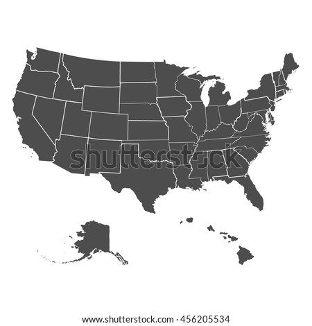 Set US States Map America On Stock Vector (Royalty Free) 456205534 ...