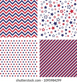 Set of US style vector seamless patterns. Print backgrounds. Stars, chevron, polka dot, striped