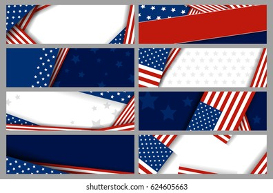 Set USA banner abstract background design of american flag vector illustration
