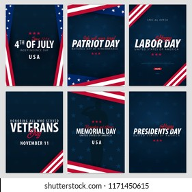 Set of USA celebrations. Public Holidays. 4th July, Patriot and Labor day, Veteran's day, Memorial and Presidents day