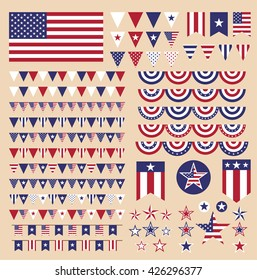 Set of USA design elements and banners. Memorial Day, Independence Day, Veterans Day, etc. Vector eps10.