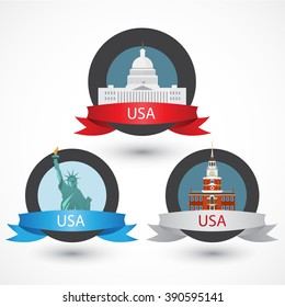 Set of USA famous monuments. Capitol, Washington DCl, Independence Hall in Philadelphia and Statue of Liberty. Flat Vector illustration can be used in web design and travel concepts. Volume 1.