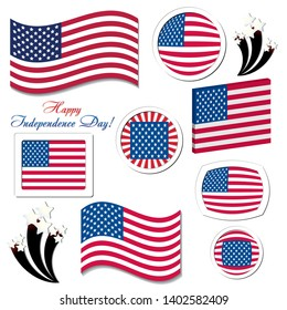 Set of USA independence day celebration button icons