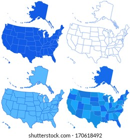 Set of the USA maps. All objects are independent and fully editable