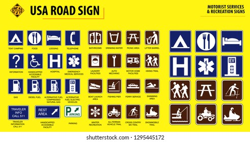set of USA road sign.  MOTORIST SERVICES   RECREATION SIGNS
