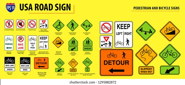 set of USA road sign.(PEDESTRIAN AND BICYCLE SIGNS). easy to modify