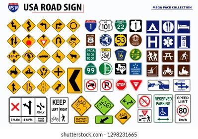 set of USA street sign. easy to modify