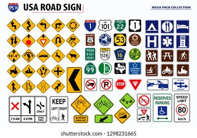 set of USA street sign. eps 10 vector