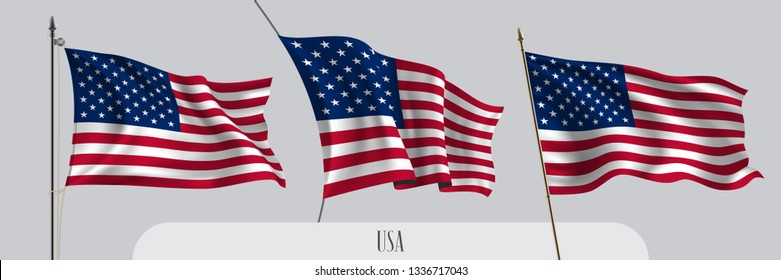Set of USA waving flag on isolated background vector illustration. 3 red blue and stars American wavy realistic flag as a patriotic symbol