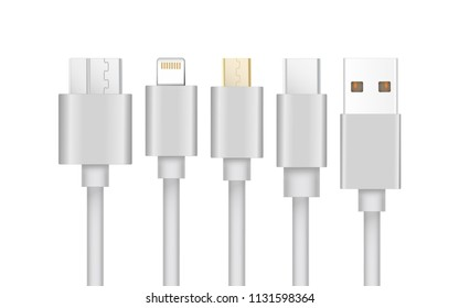 Set of USB Cable ,USB3 ,Micro-USB and USB type-C interfaces.