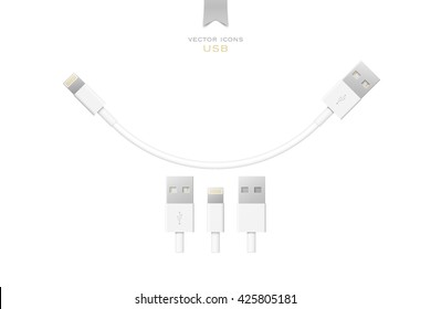 set of usb interface cables isolated on white background. vector universal serial bus 3d icons design. computer peripherals connector or smartphone recharge supply