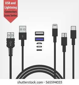 set of usb and Lightning interface black cables  isolated on white background. Micro USB, USB type c and Lightning sockets. Vector icon for computer peripherals connector or smartphone recharge supply