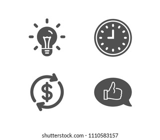 Set of Usd exchange, Idea and Clock icons. Feedback sign. Currency rate, Light bulb, Time or watch. Speech bubble.  Quality design elements. Classic style. Vector
