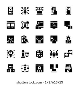 Set of user experience interface glyph style icon - vector