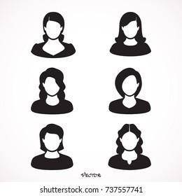 Set, user icon woman. Female vector flat. Black color people person, profile, avatar, symbol.