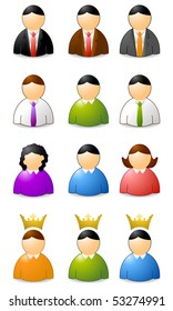set of user icons, woman an men
