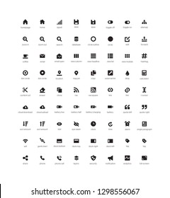 Set of user interface vector glyph Icons. Pixel perfect - Vector
