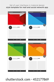 Set of user interfaces in material design style template for mail and social network app