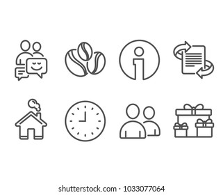 Set of Users, Communication and Coffee-berry beans icons. Clock, Marketing and Surprise boxes signs. Couple of people, Business messages, Coffee beans. Time or watch, Article, Holiday gifts. Vector