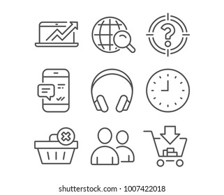 Set of Users, Headhunter and Internet search icons. Delete order, Clock and Sales diagram signs. Smartphone notification, Headphones and Shopping symbols. Couple of people. Aim with question mark
