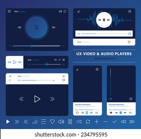 set of UX audio and video player templates in vector with design elements and icons