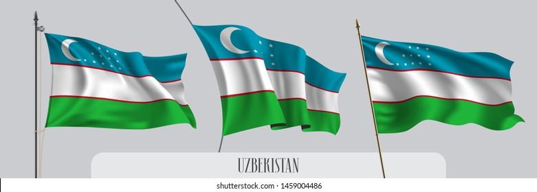 Set of Uzbekistan waving flag on isolated background vector illustration. 3 multi stripes Uzbekistanian wavy realistic flag as a patriotic symbol