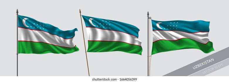 Set of Uzbekistan waving flag on isolated background vector illustration. 3 Uzbekistanian wavy realistic flag as a symbol of patriotism