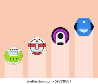 Set of vacuum cleaner appliance. Home cleanup device. Vacuum cleaner appliance design. Vector illustration.