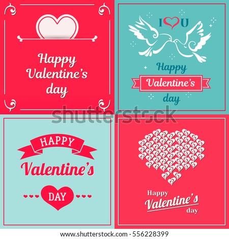 Set valentine cards greetings valentines day stock vector royalty set of valentine cards greetings with valentines day saint valentines vintage vector design m4hsunfo