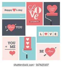 Set of valentine cards, vector design editable.