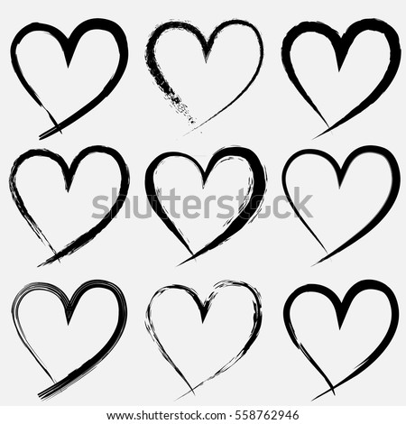 Set Valentine Heart Isolated Hand Drawn Stock Vector Royalty Free
