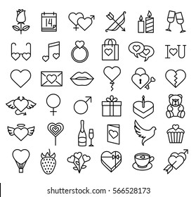 Set of Valentine icons, thin line style. Valentines day signs and love symbols