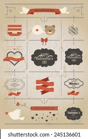 Set of Valentine vector elements, vintage banner, ribbon, labels, frames, badge, stickers. Vector ornaments and decorative element