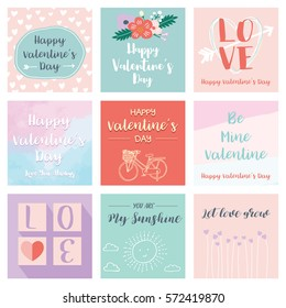 Set of Valentine's cards templates, hand drawn elements , vector