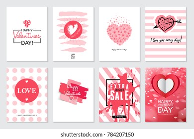 Set of Valentine's day artistic hand drawn greeting card or background in trendy style. Big Sale templates with lettering and doodle design. Flat hipster graphic of poster, label, banner. Vector
