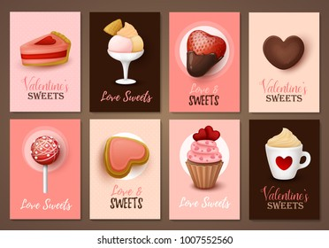 Set of Valentine`s day brochures with sweets. Vector templates. Valentine`s day backgrounds.