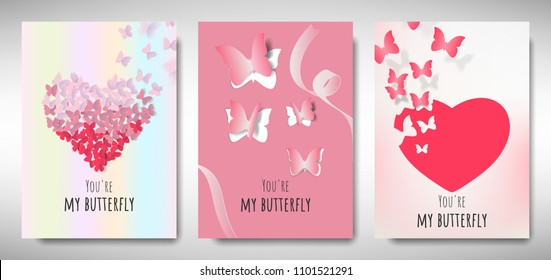 Set of Valentines day card template design, paper art butterflies and heart shape with love message, pastel pink and red theme