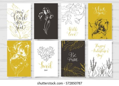 Set of Valentine's Day cards. Hand drawn flowers and calligraphy. Quotes about love.