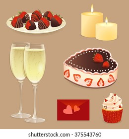 Set of Valentines day desserts and objects.