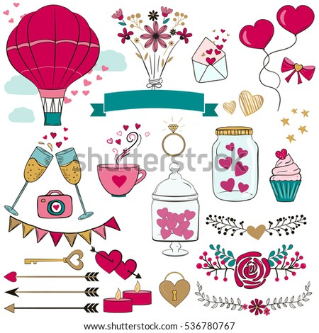 Set Valentines Day Elements Arrows Decor Stock Vector Royalty Free