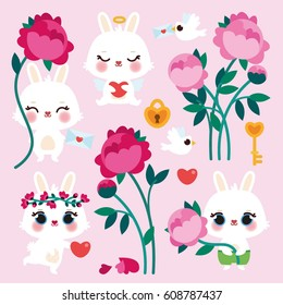 Set of Valentine's Day elements. Cute illustration with sweet Bunny and peonies